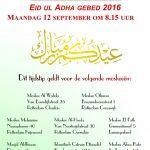 Tijdstip Eid Gebed 2016